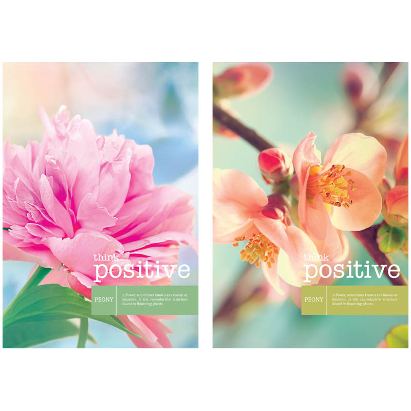 "029917 Записная книжка 80л. А6 на гребне ""Цветы. Think positive"""