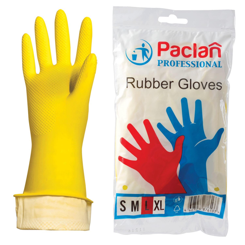"""072044 Перчатки хозяйственные резиновые PACLAN """"Professional"""", с х/б напылением, размер L (большой),"""