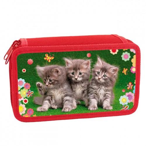 083331 Пенал 2 отделения  Три котенка, лам.