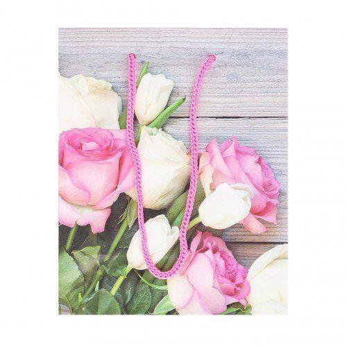 078709 Пакет бумажный 12*15*6 см, Бело-розовые розы