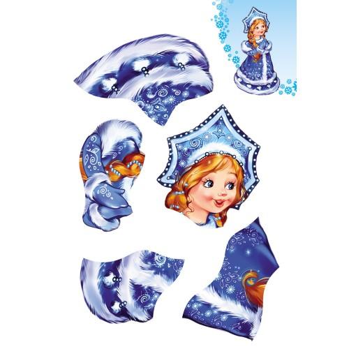 074046 НГ Аппликация А4 Снегурочка с подарком, 4л