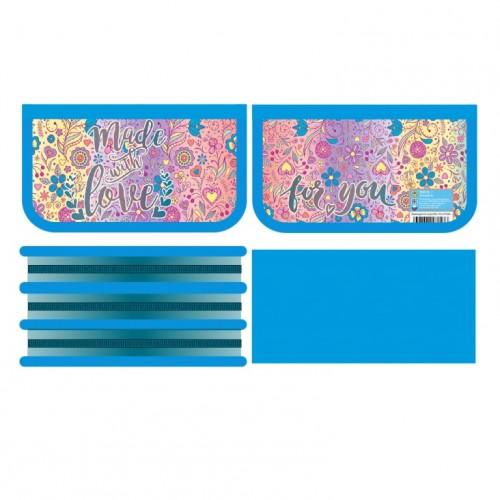 081889 Пенал 3 отделение (190*105) Яркие цветочки, лам., тканевый торец
