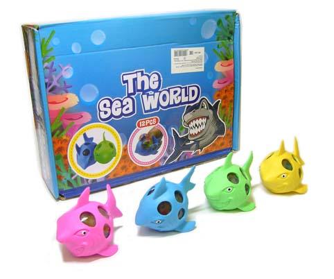 071743 Игрушка силиконовая Акула с шариками внутри
