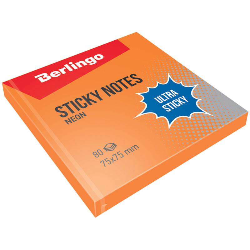 """084002 Самоклеящийся блок Berlingo """"Ultra Sticky"""", 75*75мм, 80л, оранжевый неон"""