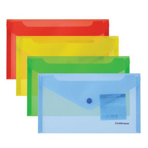 090776 Папка-конверт с кнопкой  (203х129 мм), C6, прозрачная,0,18 мм, ERICH KRAUSE