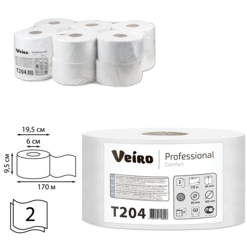 043705 Бумага туалетная 170м, VEIRO (Q2) Comfort, 2-сл,1шт.
