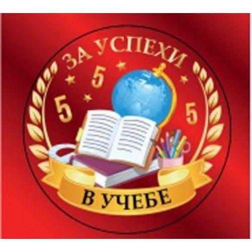 """082079 Медаль металлическая  """"За успехи в учёбе"""" с лентой"""