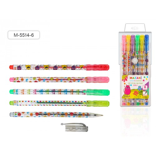 074909 Ручки гелевые MAZARI, набор 6 шт., DEBUT цв. корпус, 0,8 мм
