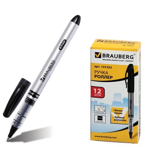 077132 Ручка-роллер BRAUBERG Control, корпус серебристый, узел 0,5мм, линия 0,3мм, черная