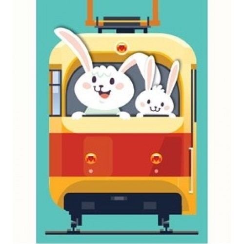 """074194 Обложка для Проездного """"Зайчики в трамвайчике"""""""