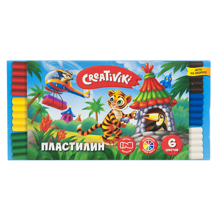 068642 Пластилин Creativiki 6 цв. 90 г