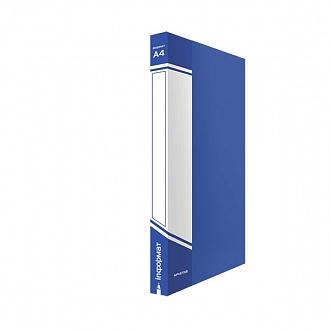 029444 Папка с прижимом inФОРМАТ А4,синий пластик,0,75 мм,карман