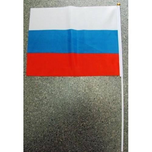 """075825 Флаг """"РОССИЯ"""" 30*45см триколор с палочкой"""