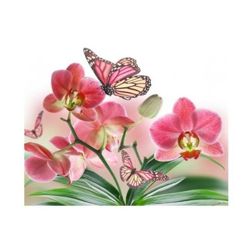 """080043 Мозаика алмазная по номерам 15*20см """"Розовая орхидея"""" Частичная выкладка"""