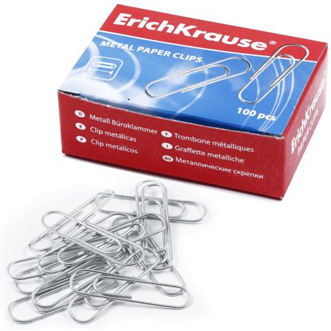 028265 Скрепки ERICH KRAUSE 28 мм металл., 100 шт., в карт. коробке