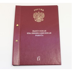 056216 Папка для Выпускной квалификационной работы А4, без бумаги, 2 отв., НА БОЛТАХ
