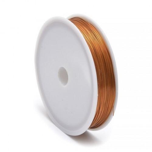 069041 Проволока д/бисероплетения медь 0,3мм 10м золото