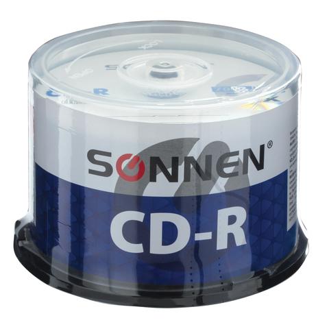 068667 Диски CD-R SONNEN, 700 Mb, 52x, Cake Box, 50 шт.