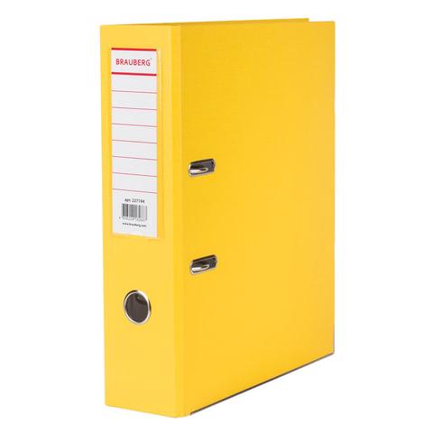 083754 Папка-регистратор BRAUBERG с покрытием из ПВХ, 80 мм, с уголком, желтая