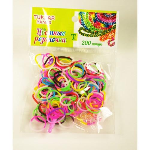 031495 Набор резиночек 2х цветные,200шт.,крючок