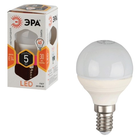 067097 Лампа светодиодная ЭРА, 5 (40) Вт, цоколь E14, шар, теплый белый свет, 30000 ч.