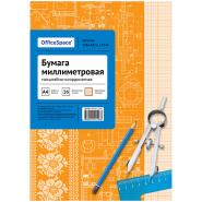 064999 Бумага масштабно-координатная OfficeSpace, А4 16л., оранжевая, на скрепке