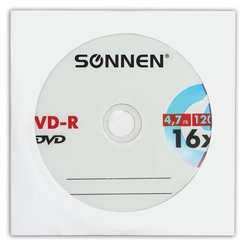 068532 Диск DVD-R SONNEN 4,7Gb 16x бумажный конверт (1 штука)