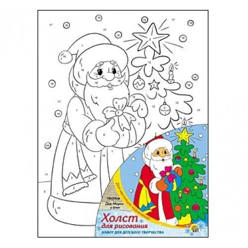 """076238 НГ Живопись по номерам с акрилом 18*24см """"Дед Мороз у елки"""""""
