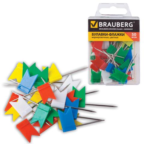 002406 Булавки-флажки Brauberg 50шт.