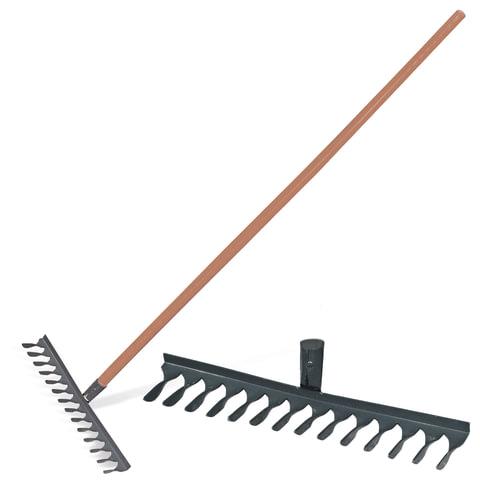 083811 Грабли классические витые, 14 зубьев, ширина 44 см, деревянный черенок 120 см, КМ000876