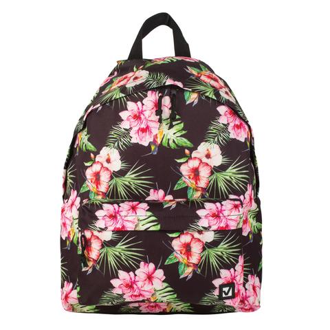 058879 Рюкзак BRAUBERG универсальный,черный, Цветы