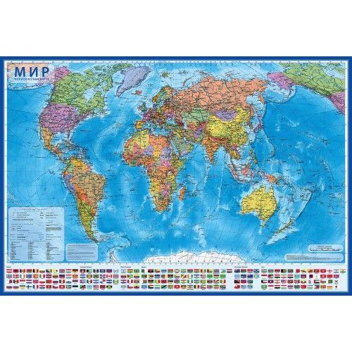 073567 Карта мира Политическая настенная 1:35М 101х61, в тубусе