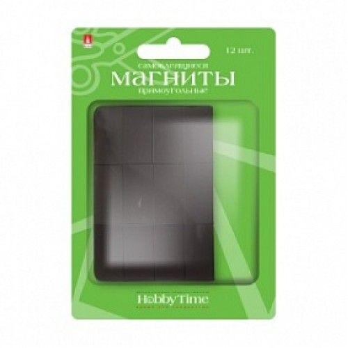 085452 Магниты прямоугольные самоклеящиеся 12 шт 12,7*25,4*0,6мм