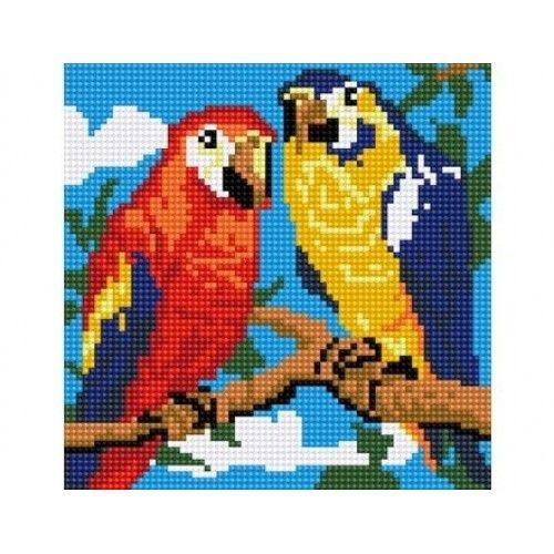 """079374 Мозаика алмазная по номерам 20*20см """"Два попугая"""" на подрамнике"""