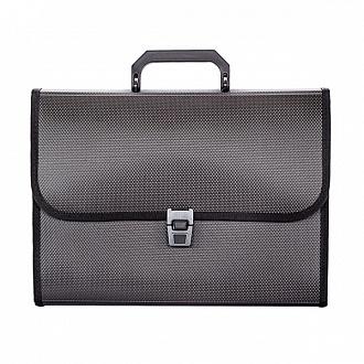 053454 Портфель inФОРМАТ А4 черный пластик 950 мкм 6отд.