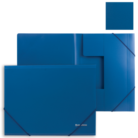 049542 Папка на резинках BRAUBERG Стандарт, синяя