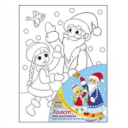 """061561 Живопись по номерам с акрилом 18*24см """"Дед Мороз и Снегурочка"""""""