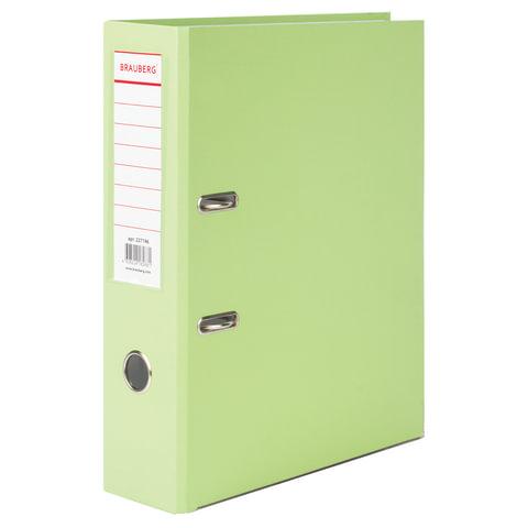 083755 Папка-регистратор BRAUBERG с покрытием из ПВХ, 80 мм, с уголком, лайм