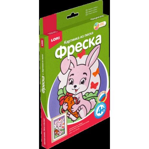 """070203 Аппликация из песка """"Зайка"""""""
