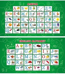 052663 Карточка-шпаргалка Алфавит русский. Алфавит английский