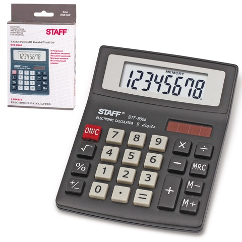 037513 Калькулятор STAFF STF-8008, 8 разр.