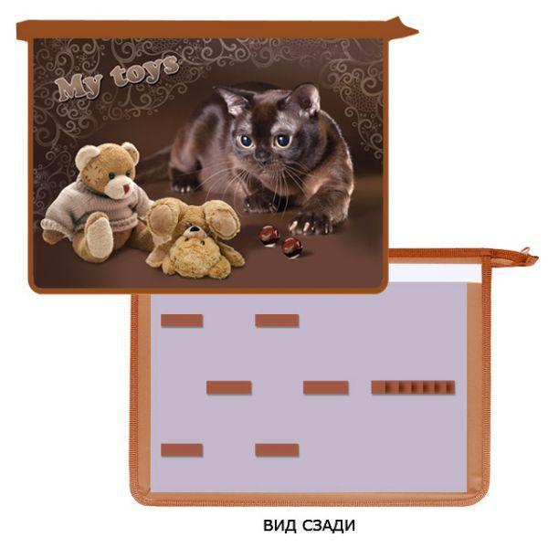 052124 Папка для труда А4 2 отд. молн. сверху,  Кот и игрушки