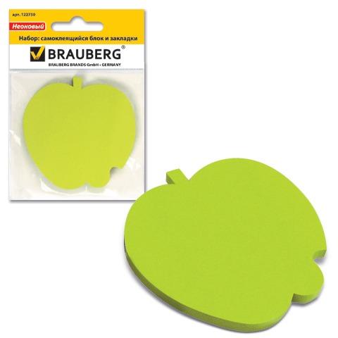 072409 Блок самоклеящ. (стикер) фигурный BRAUBERG яблоко 50л., зеленый,
