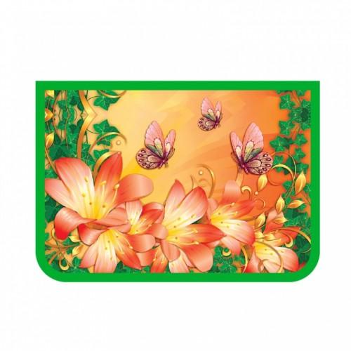 081865 Папка для труда А4 2 отд. молн. сверху,  Бабочки и лилии