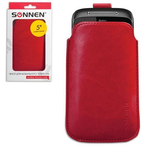 057730 Чехол для телефона SONNEN, кожзаменитель, красный