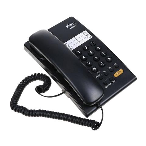 089229 Телефон RITMIX RT-330 black, быстрый набор 3 номеров, мелодия удержания, черный