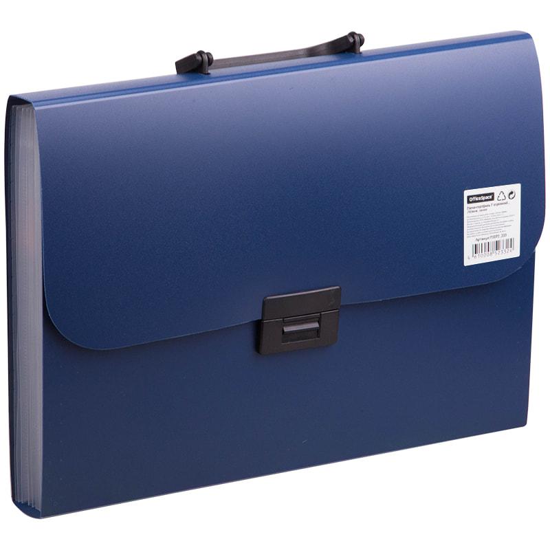 080142 Папка-портфель  7 отделений OfficeSpace, A4,700мкм, синий