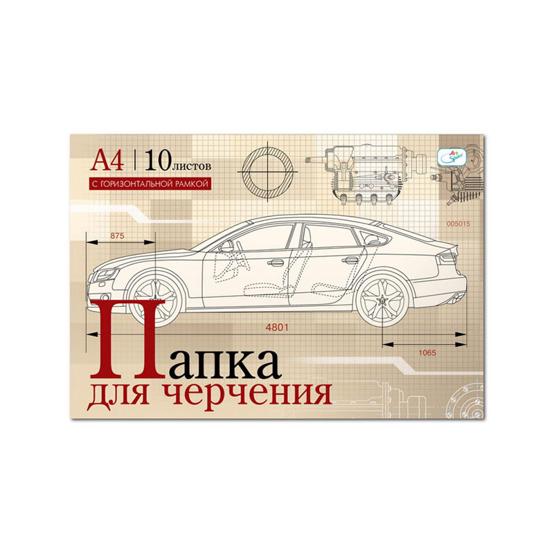 032439 Папка д/черчения 10л., А4, с горизонт.рамкой, 160г/м2