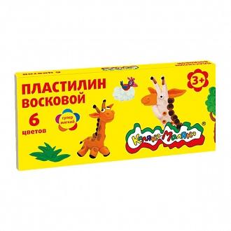 027187 Пластилин восковой Каляка-Маляка  6 цв. 90г, стек